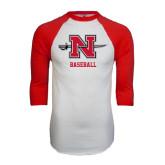 White/Red Raglan Baseball T-Shirt-Baseball
