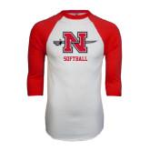 White/Red Raglan Baseball T-Shirt-Softball