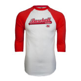 White/Red Raglan Baseball T-Shirt-Baseball Script