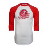 White/Red Raglan Baseball T-Shirt-Basketball w/ Ball and Figure