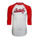 White/Red Raglan Baseball T-Shirt-Softball Script