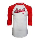 White/Red Raglan Baseball T-Shirt-Softball Script