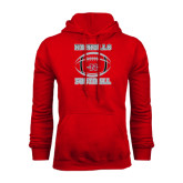 Red Fleece Hood-Nicholls Football Stacked w/ Ball