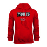 Red Fleece Hood-Tennis w/ Player