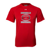 Under Armour Red Tech Tee-Nicholls Football Stacked w/ Ball