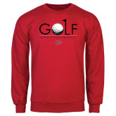 Red Fleece Crew-Golf w/ Ball and Flag