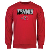 Red Fleece Crew-Tennis w/ Player