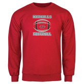 Red Fleece Crew-Nicholls Football Stacked w/ Ball