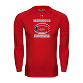 Under Armour Red Long Sleeve Tech Tee-Nicholls Football Stacked w/ Ball