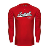 Under Armour Red Long Sleeve Tech Tee-Softball Script
