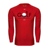Under Armour Red Long Sleeve Tech Tee-Golf w/ Ball and Flag
