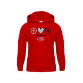 Youth Red Fleece Hoodie-Soccer Just Kick It