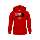Youth Red Fleece Hoodie-Peace Love & Volleyball