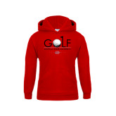 Youth Red Fleece Hoodie-Golf w/ Ball and Flag