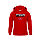 Youth Red Fleece Hoodie-Tennis w/ Player