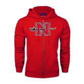 Champion Red Fleece Full Zip Hood-Official Logo