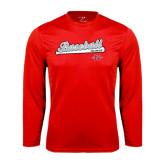 Performance Red Longsleeve Shirt-Baseball Script