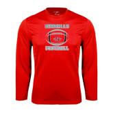 Performance Red Longsleeve Shirt-Nicholls Football Stacked w/ Ball