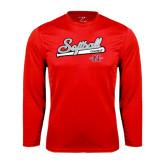Performance Red Longsleeve Shirt-Softball Script