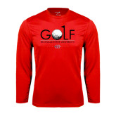 Syntrel Performance Red Longsleeve Shirt-Golf w/ Ball and Flag