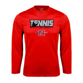 Performance Red Longsleeve Shirt-Tennis w/ Player