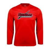 Performance Red Longsleeve Shirt-Nicholls Colonels-Sword