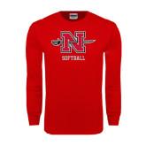 Red Long Sleeve T Shirt-Softball