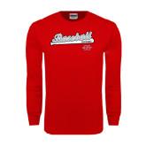Red Long Sleeve T Shirt-Baseball Script