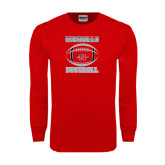 Red Long Sleeve T Shirt-Nicholls Football Stacked w/ Ball