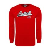 Red Long Sleeve T Shirt-Softball Script