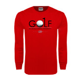 Red Long Sleeve T Shirt-Golf w/ Ball and Flag