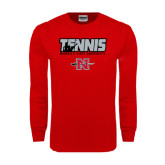 Red Long Sleeve T Shirt-Tennis w/ Player