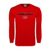 Red Long Sleeve T Shirt-Track & Field Stacked