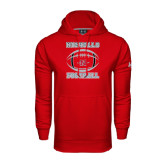 Under Armour Red Performance Sweats Team Hoodie-Nicholls Football Stacked w/ Ball
