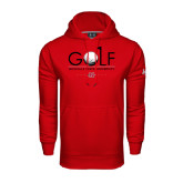 Under Armour Red Performance Sweats Team Hoodie-Golf w/ Ball and Flag