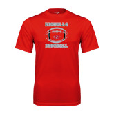 Syntrel Performance Red Tee-Nicholls Football Stacked w/ Ball