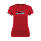 Ladies Syntrel Performance Red Tee-Nicholls Colonels-Sword