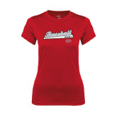 Ladies Syntrel Performance Red Tee-Baseball Script