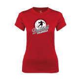 Ladies Syntrel Performance Red Tee-Basketball w/ Ball and Figure