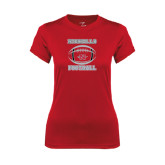 Ladies Syntrel Performance Red Tee-Nicholls Football Stacked w/ Ball