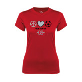 Ladies Syntrel Performance Red Tee-Soccer Just Kick It