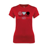 Ladies Syntrel Performance Red Tee-Peace Love & Volleyball