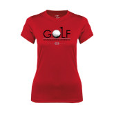 Ladies Syntrel Performance Red Tee-Golf w/ Ball and Flag