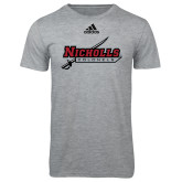 Adidas Sport Grey Logo T Shirt-Nicholls Colonels-Sword