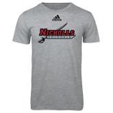 Adidas Sport Grey Logo T Shirt-Nicholls Colonels-Sword