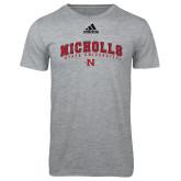 Adidas Sport Grey Logo T Shirt-Nicholls University