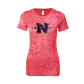 Next Level Ladies Junior Fit Fuchsia Burnout Tee-Official Logo