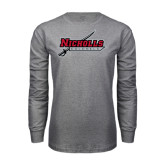 Grey Long Sleeve T Shirt-Nicholls Colonels-Sword