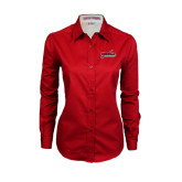 Ladies Red Twill Button Down Long Sleeve-Nicholls Colonels-Sword
