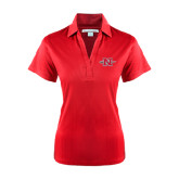 Ladies Red Performance Fine Jacquard Polo-Official Logo